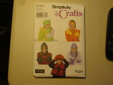 Simplicity Pattern 5781 Misses Fleece Accessories,Mittens 3 sizes Uncut Unopened