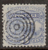 Scott #114 Used Single, Locomotive 1869 Pictorial Issue (G Grill)