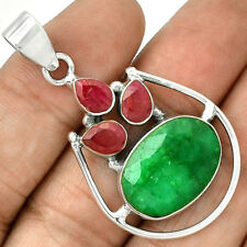 Emerald, Ruby 925 Sterling Silver Pendant  Jewelry PP68503