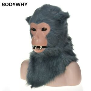 New Gray Monkey Mascot Costume Can Move Mouth Head Suit Halloween Outfit Cosplay