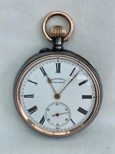 Good Quality Swiss Gunn Metal Pocket Watch Dating Around 1910 For Pearce & Sons