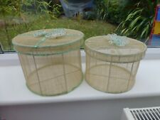 Set of 2 Natural & Green Mesh Round Storage Boxes with floral motifs