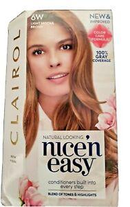 CLAIROL Natural Looking Nice n' easy 6w Light Mocha Brown Permanent Hair Dye Kit