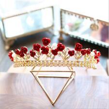 Bride red rhinestones rose crowns wedding photography head ornaments tiara 2017