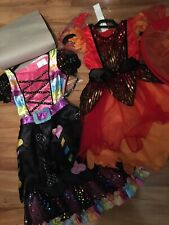 2 X Girls Halloween Costumes Age 5-6y Sparking Fairy With Wings & Candy Witch