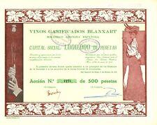 Vinos Gasificados Blanxart SA Espanola, accion, San Sadurni de Noya, 1916