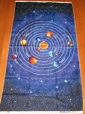 COSMIC GLOW in the DARK Planets and Stars 100% Cotton Fabric Panel