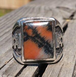 Square Petrified Wood Man Overlay Sterling Silver Navajo Men Ring Sz 9.75 12.6 G
