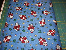 Christmas Holiday fabric Gifts of Winter Collection Dk Blue Santa, Stars