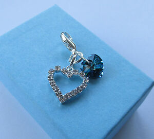 Wedding Bride Something Blue Swarovski Elements Heart Charm & Rhinestone Pendant