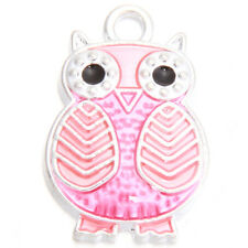 20x New Wholesale Bulk Rose Red Enamel Silver Plated Owl Alloy Charms Pendant L