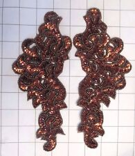 "Pair Mirrored Brown/Bronze Beaded Sequins Appliques Sew on 8"" x 3.5"""