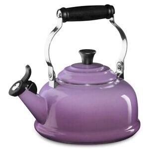 NIB BEAUTIFUL LE CREUSET AMETHYST WHISTLING TEA KETTLE 1.7 QT ENAMELED STEEL