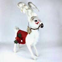 """Large 25"""" Vintage 1998 Annalee Plush Felt White Reindeer Deer Christmas Tags USA"""