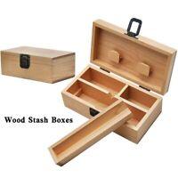 Wood Stash Boxes Maple Wood Cigarette Rolling Paper Tray Case Storage Stash Boxs