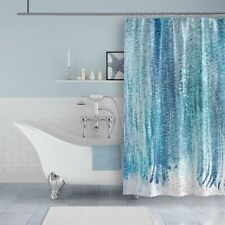 Metro Shower Curtains: Aqua Blue Watercolor Stripes