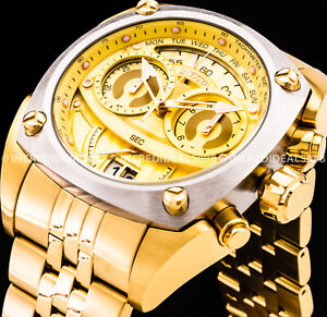 Invicta RESERVE SWISS Chronograph Silver Bezel 18Kt Gold Dial 48mm Men SS Watch