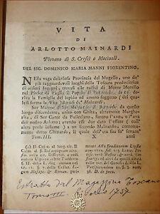 D.M. Manni, VITA DI ARLOTTO MAINARDI Piovano 1757 estr. da MAGAZZINO TOSCANO III