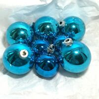 8 Pc VINTAGE LOT Blue Mercury Glass CHRISTMAS ORNAMENTS Shiny Brite USA