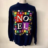 VTG NOEL Graphic Ugly Christmas Sweatshirt 90s Adult Size Large 50/50 USA