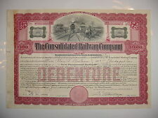 1920's Consolidated Railway Company Bond Stock Certificate New Haven Connecticut