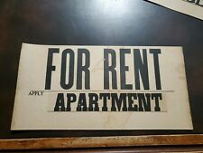 Vintage 1940s Apartment For Rent Sign York, Pa