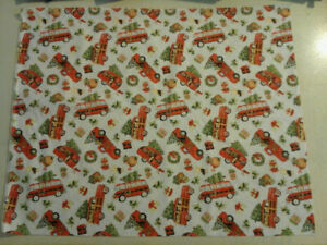 Old Red Truck Trailer Wreath Christmas Tree Fabric New 2020 Print 260513