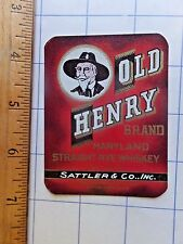 1940s Old Henry Maryland Rye Whiskey Label. Baltimore, MD.  2 5/8 x 3 3/8 inches