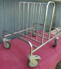 Small Stainless Steel 4 Wheel Cart Vertical Dividers Front Locking Wheels Swivel