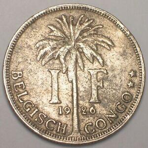 1926 Belgian Congo One 1 Franc Laureate Head Palm Tree Coin
