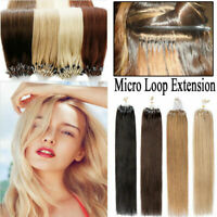 Micro Ring Beads Easy Loop Tip Indian Remy Human Hair Extensions Silky Straight