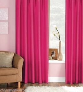JAVA FAUX SILK CERISE 90 x 108 INCHES EXTRA LONG DROP  RING TOP CURTAINS S