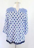 NWT Talbots Blue White Geometric Printed Tassel Fringe Tunic Top Blouse Sz PM MP