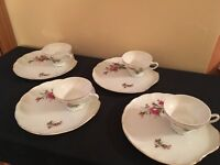 SET OF 4 Mid Century Modern Bone China Pink Rose Luncheon Plates & Cups