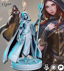 Azure Soceress Fantasy Female Miniature 55mm Tabletop RPG Role Playing D&D