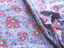 "Vintage 1950's 60's Cotton Mix Dress Fabric Mauve Pink Daisy Pattern 40""L x 36""W"