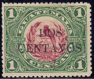 1917 Guatemala SC# 154 - National Emblem - Surcharged in Black - M-H