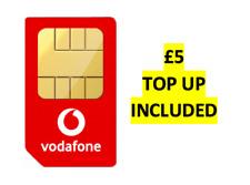 Vodafone UK Sim Card Pay As You Go 3G 4G Triple Cut £5 Credit Preloaded NEW