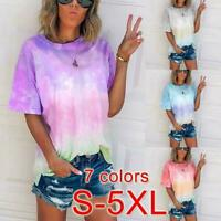 Women Summer Tie-Dye Short Sleeve Crew-Neck T-Shirt Blouse Tee Casual Ceng Y7Q2