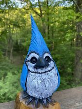 Mini BLUE JAY Chainsaw Carving LOCUST Wood WHIMSICAL Bird Sculptures VERY UNIQUE
