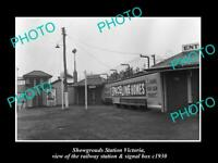 OLD POSTCARD SIZE PHOTO OF MELBOURNE SHOWGROUNDS RAILWAY SIGNAL BOX c1930