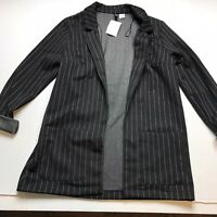 H&M Divided Black Pinstripe Open Front Long Blazer Jacket Size Small A1100