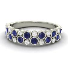0.91Ct Natural Diamond Blue Sapphire Eternity Band 950 Platinum Ring Size N M P