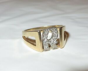 "Vintage Men's 14K Gold Initial Ring ""R"" In Diamonds Size 9 Las Vegas Jeweler"