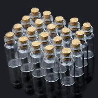 20pcs 2ml Vintage kleine kleine klare leere Glasflaschen Fläschchen Korken