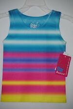 Girl's Multi-Color Tie Dye Striped Star Basics Sleeveless Tank Top, Size 2 to 4T