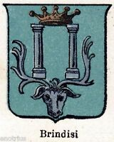 Brindisi: Piccolo Stemma del 1901. Cromolitografia. Stampa Antica + Passepartout
