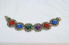 Vintage Costume Jewelry -Wide Chunky Jelly Belly Cabochon Link Bracelet