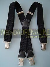 MENS MEN BRACES SUSPENDERS BLACK 40mm Xshape HEAVY DUTY BIKER SNOWBOARD TROUSERS
