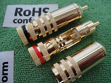 1xGold RCA Car AUX AMP Audio CD Cable Screw Lock Solder Free CONNECTOR PLUG,73A